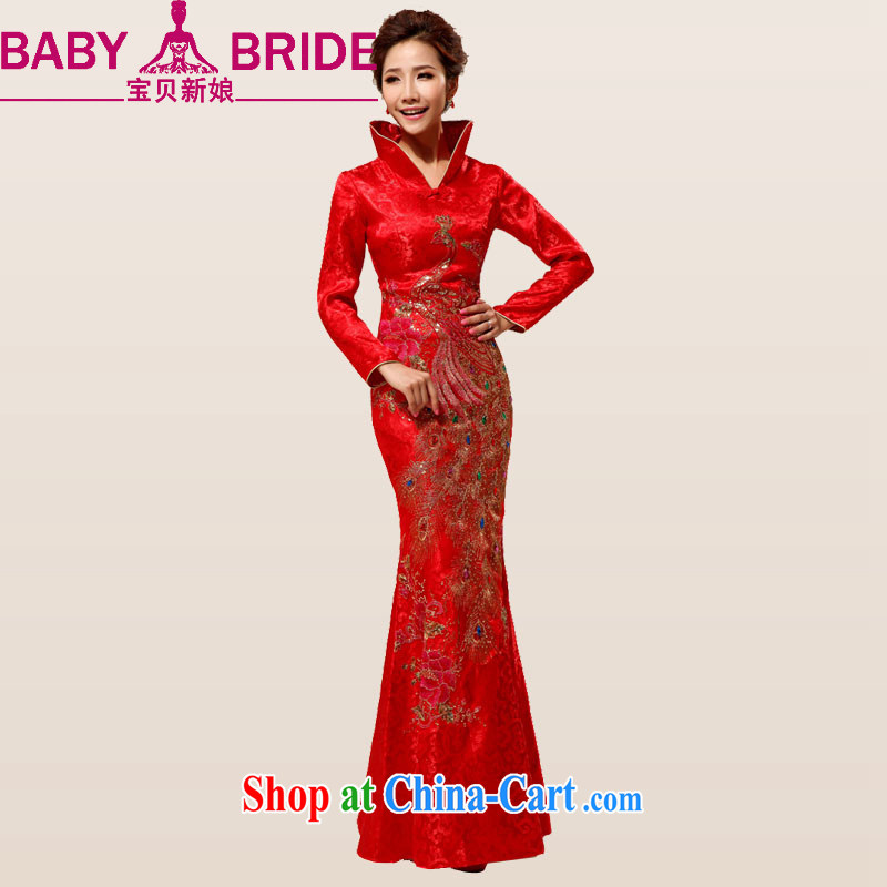 Baby bridal China wind red long Phoenix embroidery on drilling rich Peony bridal wedding wedding dresses dresses red waist 2 feet 4