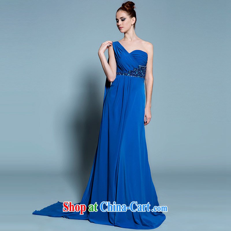 A lifetime by 2015 new, long blue dress, snow-woven a shoulder Performance Serving dinner theater moderator dress 20250201 blue XXL code 15 days pre-sale