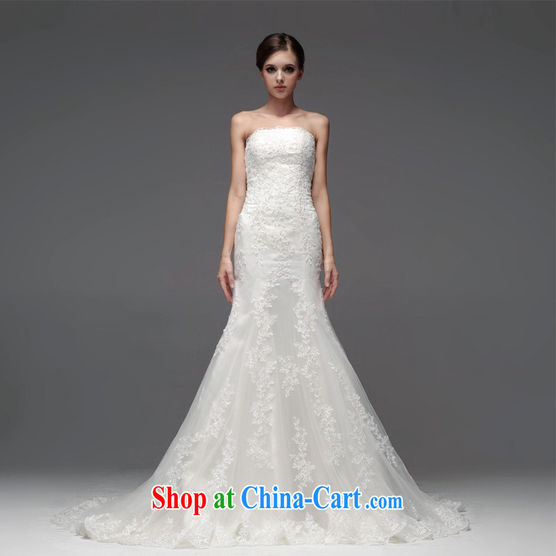A yarn wedding dresses 2015 new Korean crowsfoot, wedding lace bare chest small tail wedding NW 0705 white XXL code 30 days pre-sale
