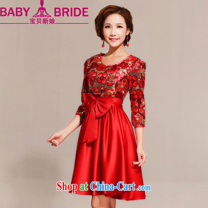 Baby bridal wedding dress red spring and summer dresses qipao improved stylish summer dresses short red dresses red waist 2 feet 4