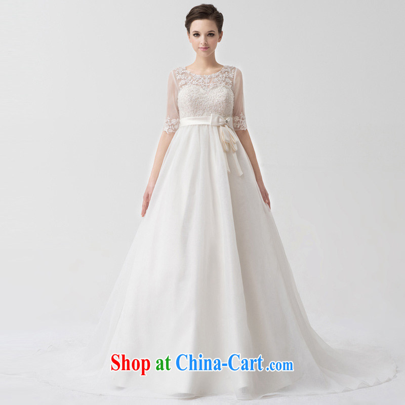 A yarn wedding dresses 2015 new high-waist cuff in larger Korean pregnant women tail wedding NW 24,067 white XXL code 20 days pre-sale