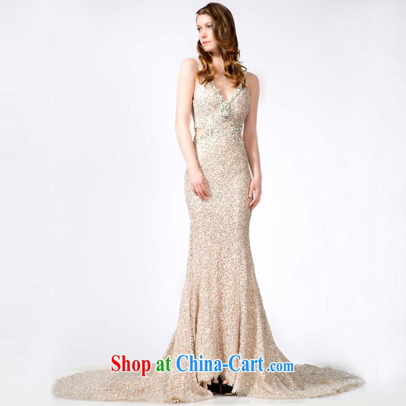 A yarn wedding dresses 2013 bare color dual shoulder straps dress Deep V collar crowsfoot, dress 20240711 bare color XXL code 15 days pre-sale