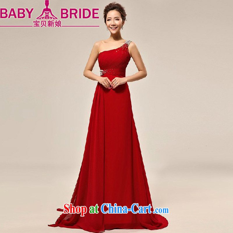 Baby bridal bridal red dress long marriage and stylish single shoulder small dress bridal wedding toast serving small-tail red toast serving wine red XXL