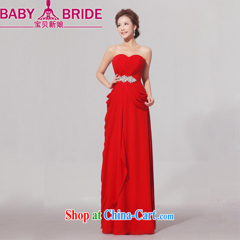 Baby bridal larger wedding dresses thick mm red elegant graphics thin dress long bridal toast serving red XXL