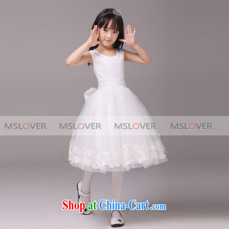 MSLover lace large Bow Tie dress shaggy dress Princess dress Children Dance clothing birthday dress flower HTZ serving 130,905 m White 4