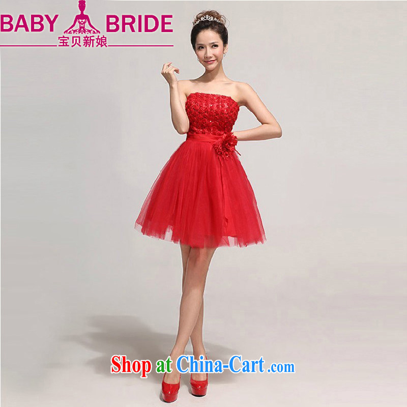 Baby bridal bridesmaid short small dress dress 2014 new bride wedding dress red bows dress beauty, red XXL