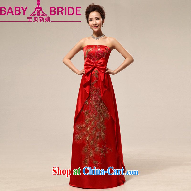 Baby bridal 2014 New China Chinese Embroidery Chinese red erase chest marriages wedding dresses red XXL