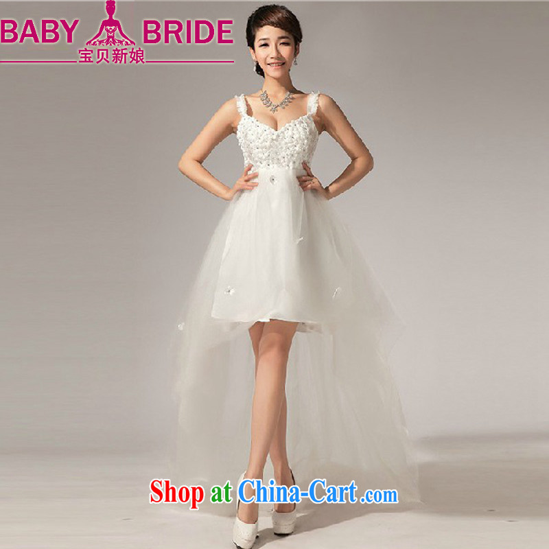 Baby bridal wedding dresses new paragraph before 2014 after a short drag wood drilling small dress dress the wedding dress summer white XXL