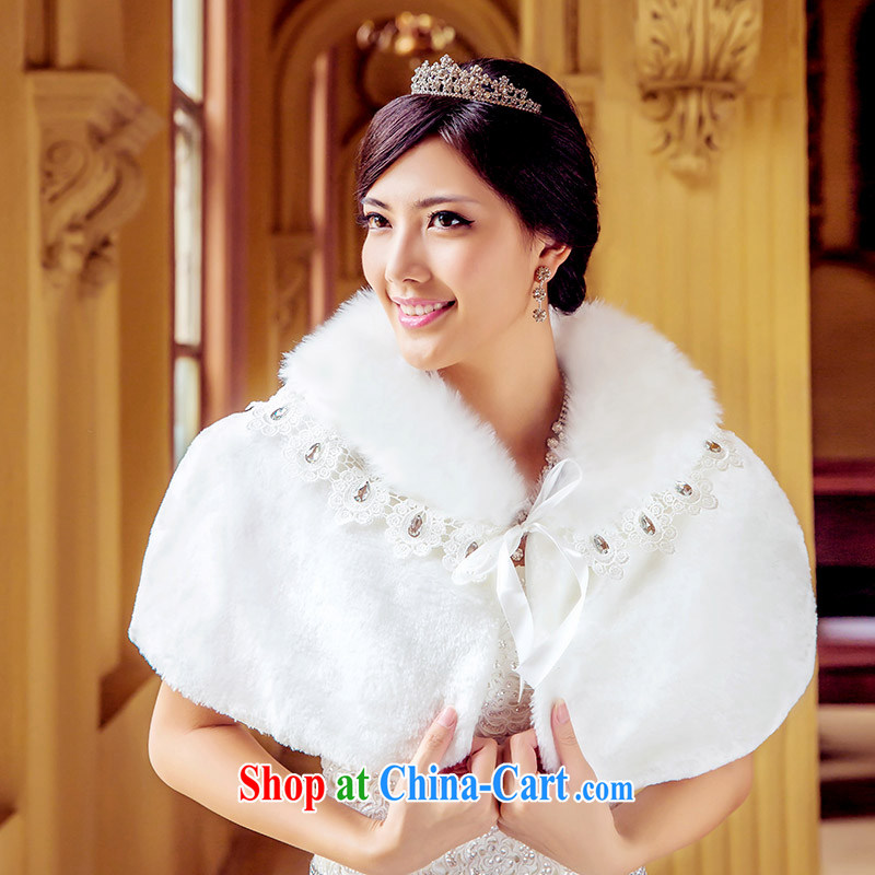 The bride's wedding dress hair shawl white plush wedding shawls winter wedding warm 009