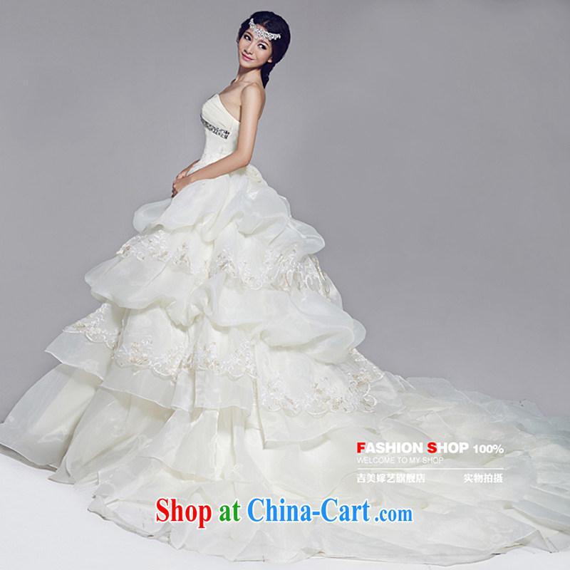 Vladimir Putin, and the wedding dresses Jimmy married arts 2015 new erase chest Korean Princess skirt 531 bridal wedding champagne color - Tail - Crystal Diamond edition XXXL