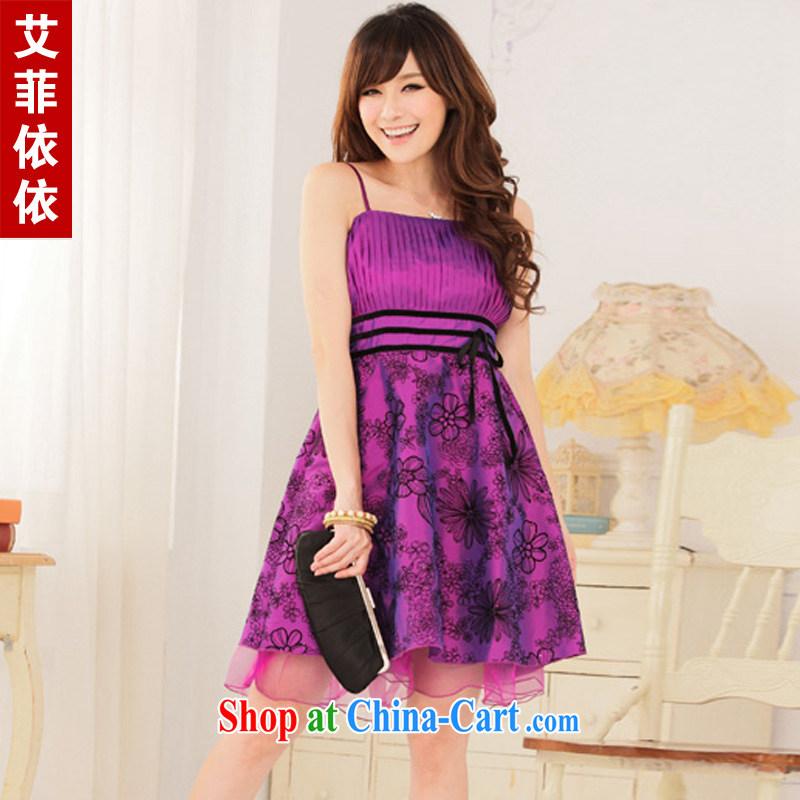 The parting the code, lint-free cloth wrapped around their bra straps small dress 2015 Korean short banquet bridesmaid annual meeting moderator retro dress dress 4750 purple large code XXXL