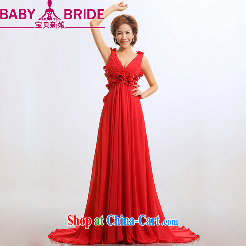 Baby bridal bridal star wedding dresses bows new 2014 red stylish long evening dress long XXL