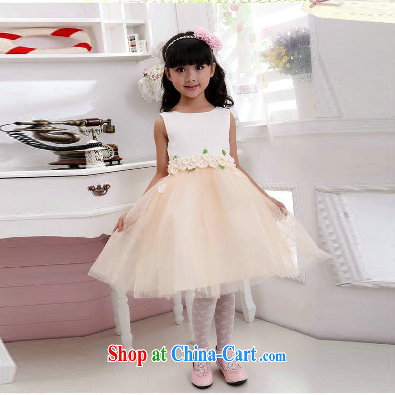 Taiwan's 2014 children's new Birthday Concert dress flower child dresses wedding dresses show shaggy skirts XS 2166 champagne color 12