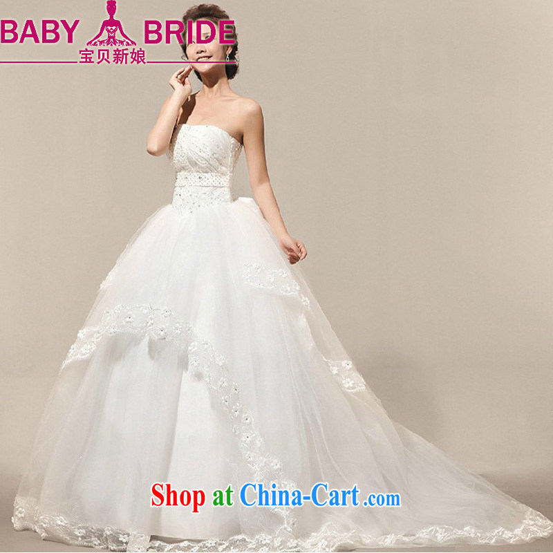 Baby bridal 2014 married Mary Magdalene recommended chest wedding Korean tail hotel church lace wedding wedding outdoor white XL