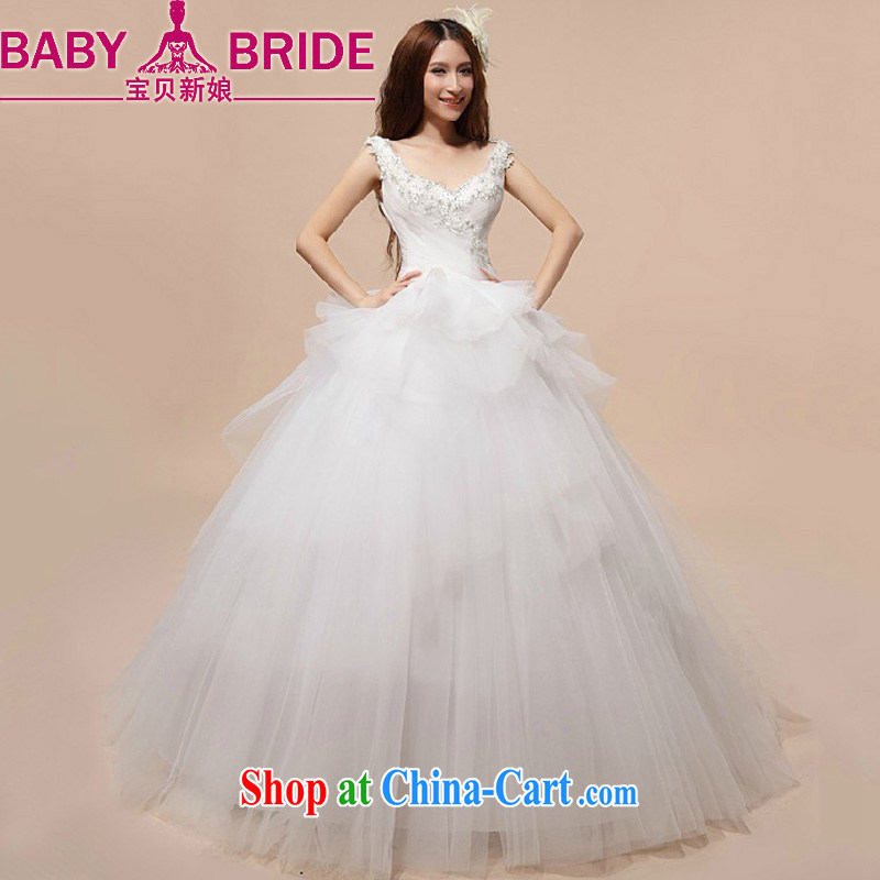 Baby bridal bridal wedding dresses Korean Princess skirt spreader wedding Deep V collar wedding new 2014 white XL