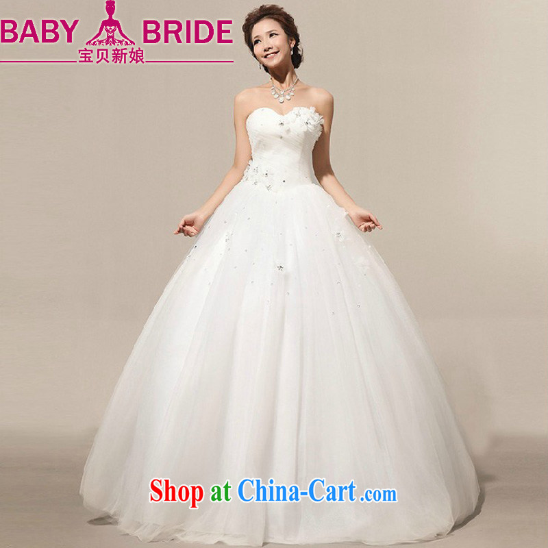 Baby bridal 2014 New on the new Manual flowers large skirts retro white bride Korean wedding dresses white XXL