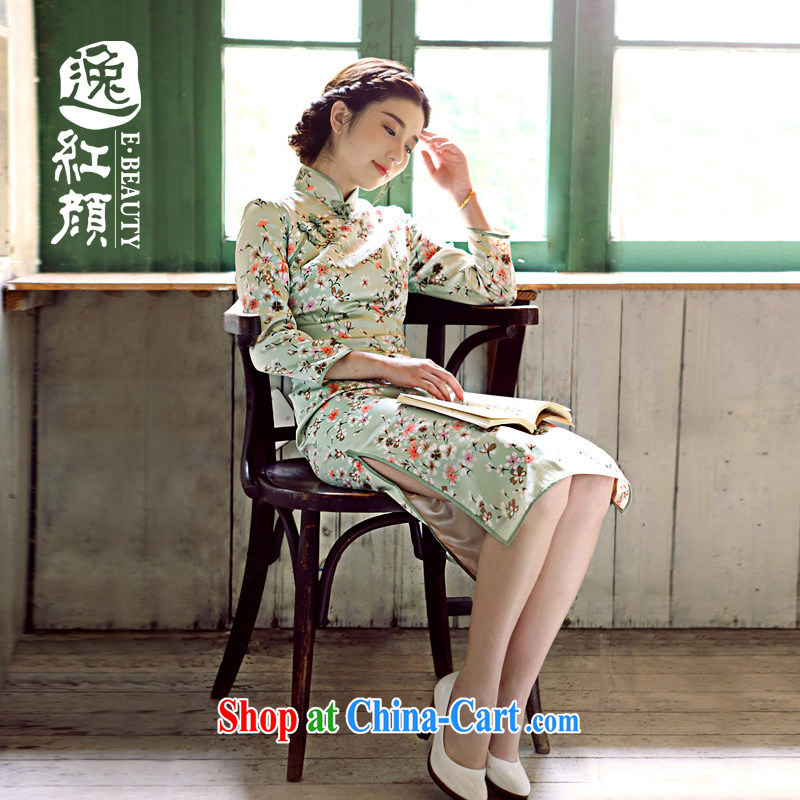 The proverbial hero once and for all and health of Chungju Silk Cheongsam new upscale Silk Cheongsam dress improved stylish Autumn with green spring and summer edition snow woven, 2 XL