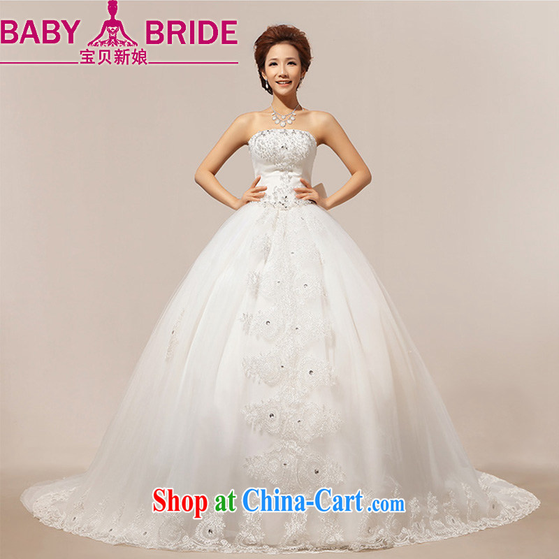 Baby bridal 2014 new Korean stars with stylish erase chest luxury large tail bridal wedding dresses white XXL