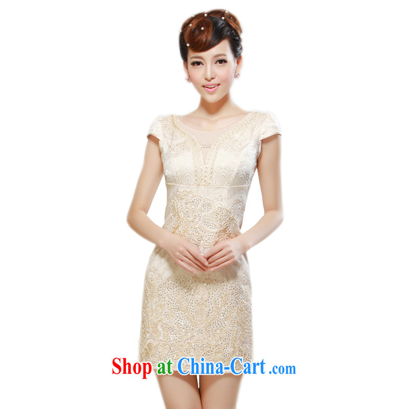 2014 summer new improved stylish beauty charm sexy outfit daily standard embroidery, cheongsam dress yellow 2XL