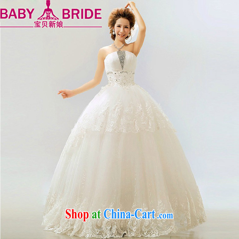 Baby bridal 2014 new retro stars with flash light drill Korean shaggy marriages wedding dresses white XXL