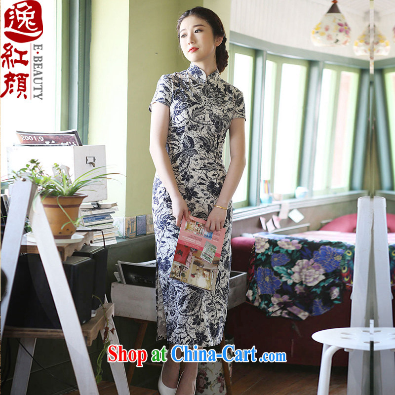 The proverbial hero once and for all -- Ja, floral commuter cotton robes the commission 2015 new summer stylish retro long cheongsam improved double-yi skirt short-sleeved L