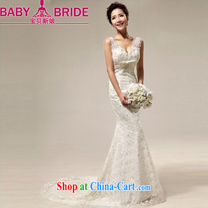 Baby bridal wedding dresses Deep V shoulders lace sweet-waist crowsfoot small tail marriages wedding dresses white M