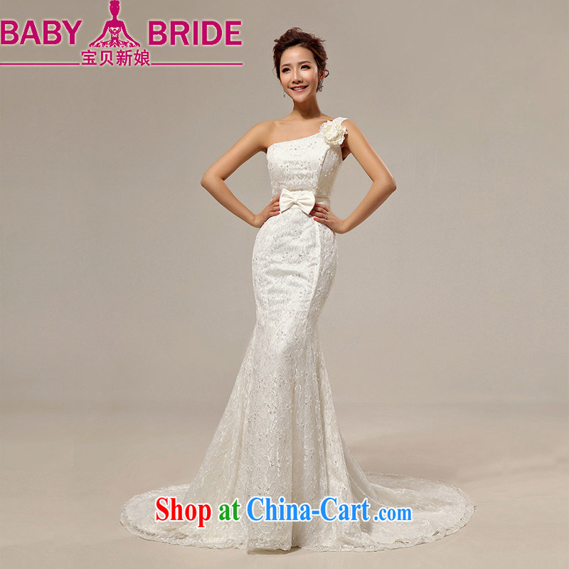 Baby Bridal Fashion Korean flowers single shoulder-waist crowsfoot straps, marriages wedding dresses photo building a photo white. Do not return - size please leave a message