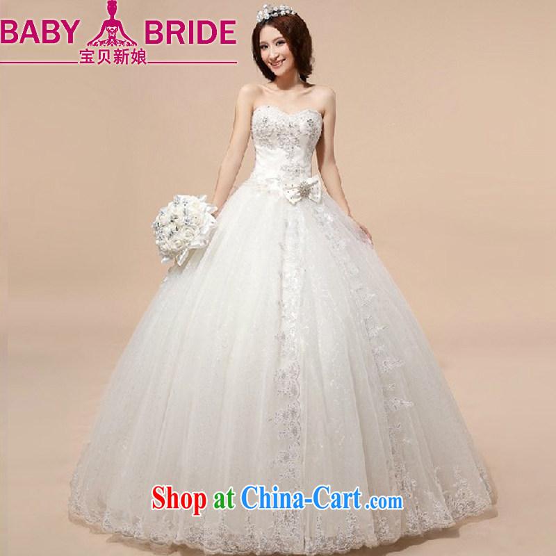 Baby bridal wedding dresses 2014 new Korean wiped chest wedding grid yarn tied with pregnant women wedding white XXL