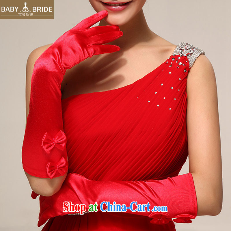 Baby bridal activities show choir wedding dresses dresses bridal wedding, red bow tie long satin gloves 17