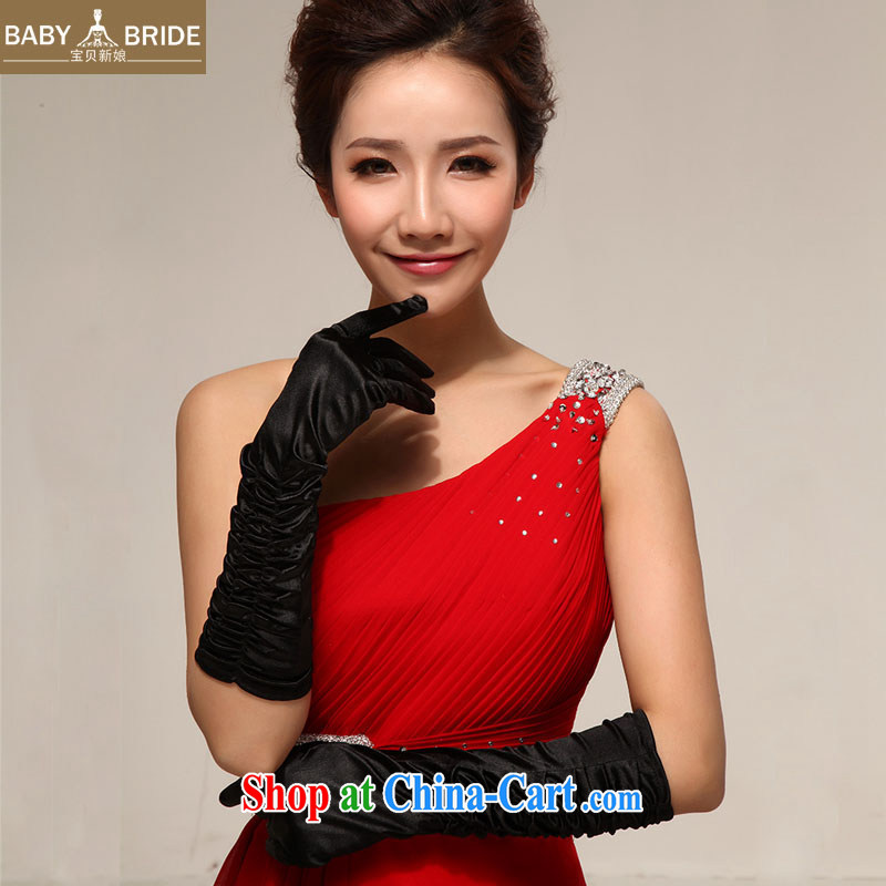 Baby bridal film floor wedding show choir activities, wedding dresses bridal full means satin gloves Long black 08