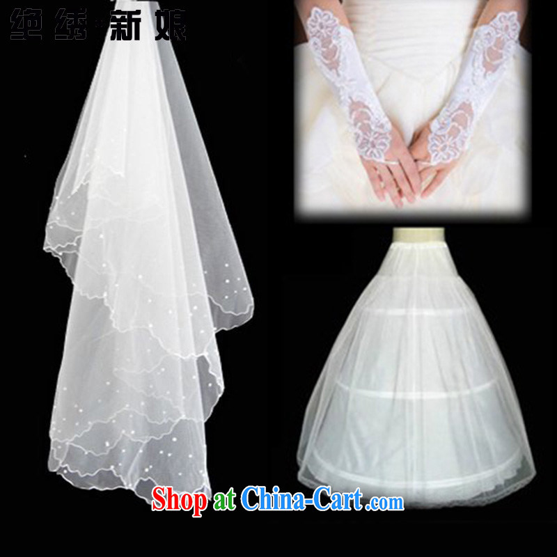 There is embroidery bridal upscale wedding dresses accessories Combo Package and yarn + skirt stays + gloves white