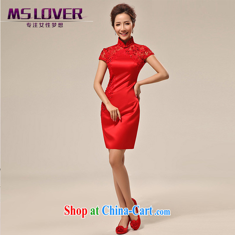 MSLover New Red dresses wedding dresses wedding dresses bridal short lace bows clothing qipao QLF 130,815 red S waist (2 feet)