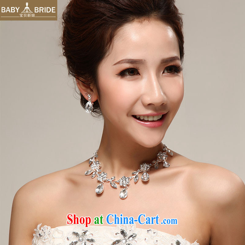 My dear bride Korean silver Luxury Water drilling marriages necklace earrings set bridal wedding jewelry required 49