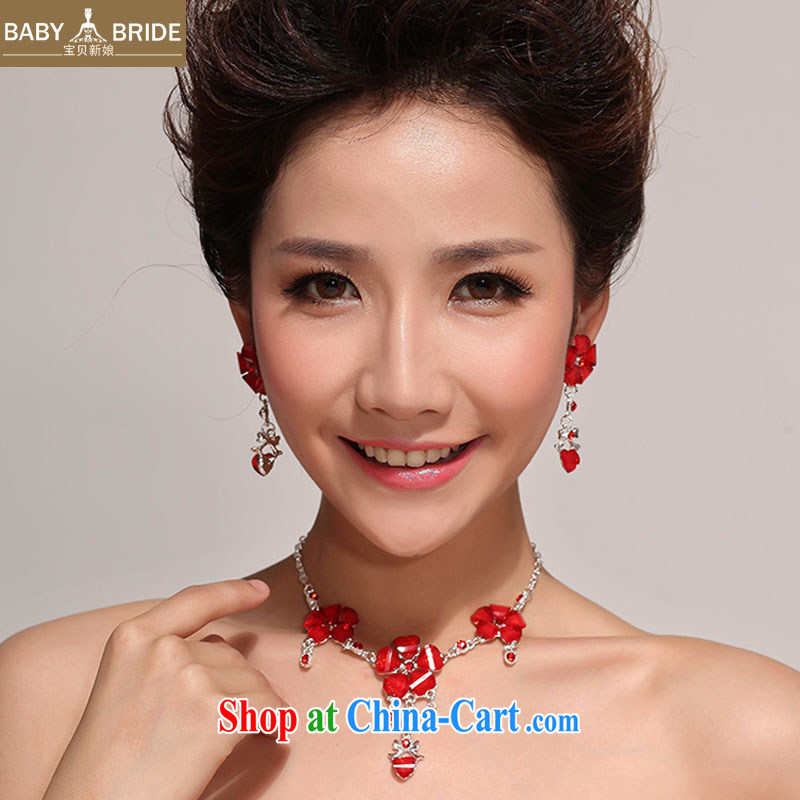 Baby bridal bridal jewelry set red bridal suite chain dress necklace bridal water Drill Set link two-piece jewelry 22 red