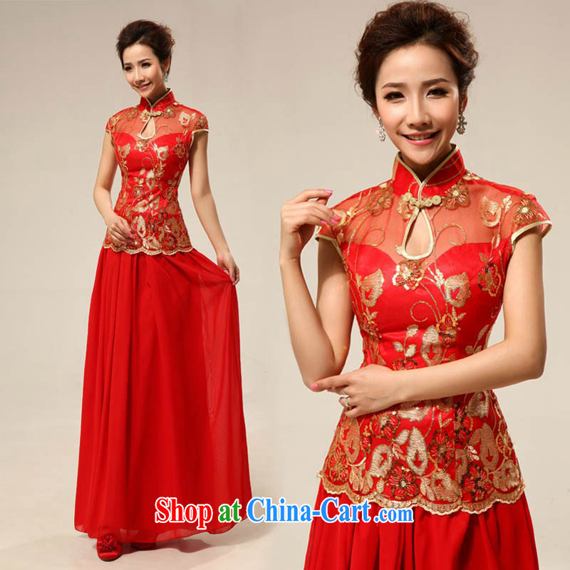 MSLover New Red dresses wedding dresses wedding dresses bridal long lace bows clothing qipao QLF 130,818 red L _waist 2.2 feet_