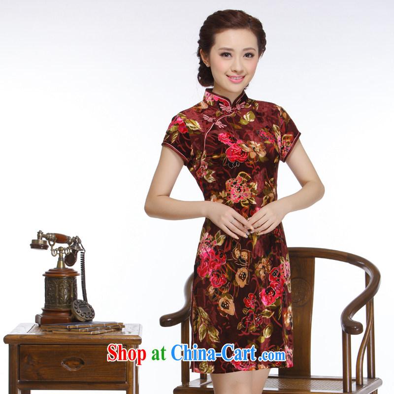 Slim li know Ms. 2015 really wool-'s short dresses retro improved stylish short-sleeve QR 315 wine red XXL