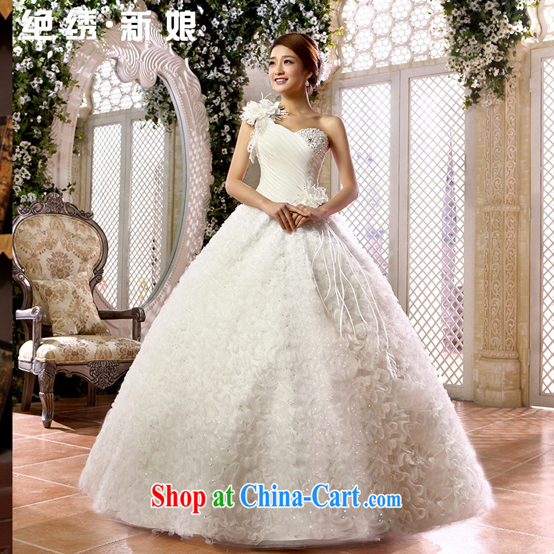 There is embroidery bridal 2015 Korean wedding dress single shoulder flowers sweet Princess a shoulder with wedding white M