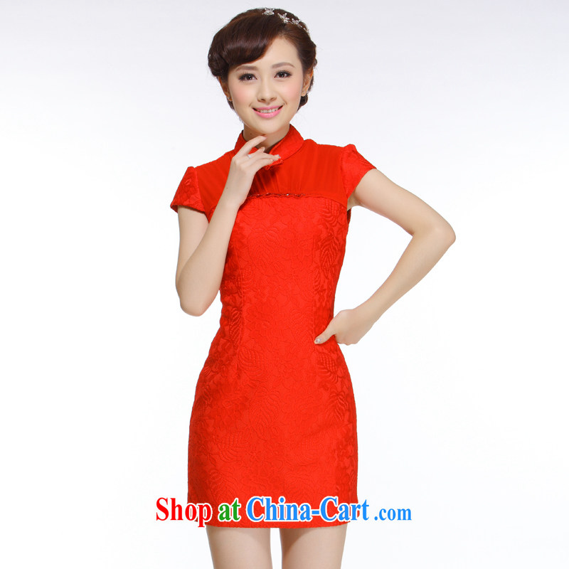 Slim li know 2015 spring new European root yarn parquet drill red cheongsam dress upscale sophisticated Chinese brides replace QW 010 red XXL
