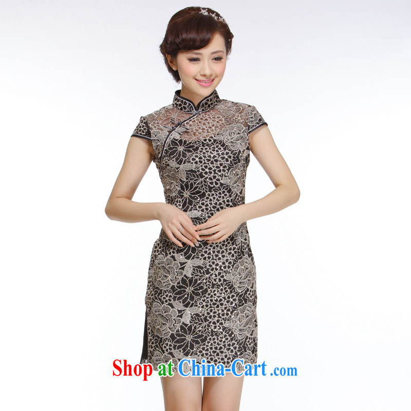Slim li know 2015 new Ladies black lace Openwork improved stylish beauty and elegant embroidery cheongsam QR 310 black XXL