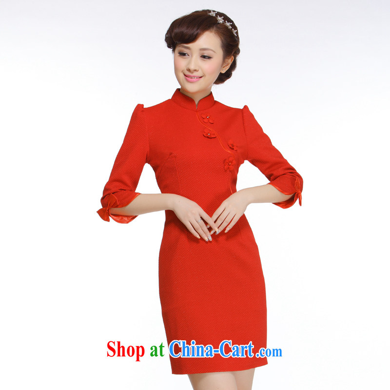 Slim li know spring 2015 new OL commuter retro elegant qipao 7 cuff dress D 82 large code 003 QW R Red XXXL
