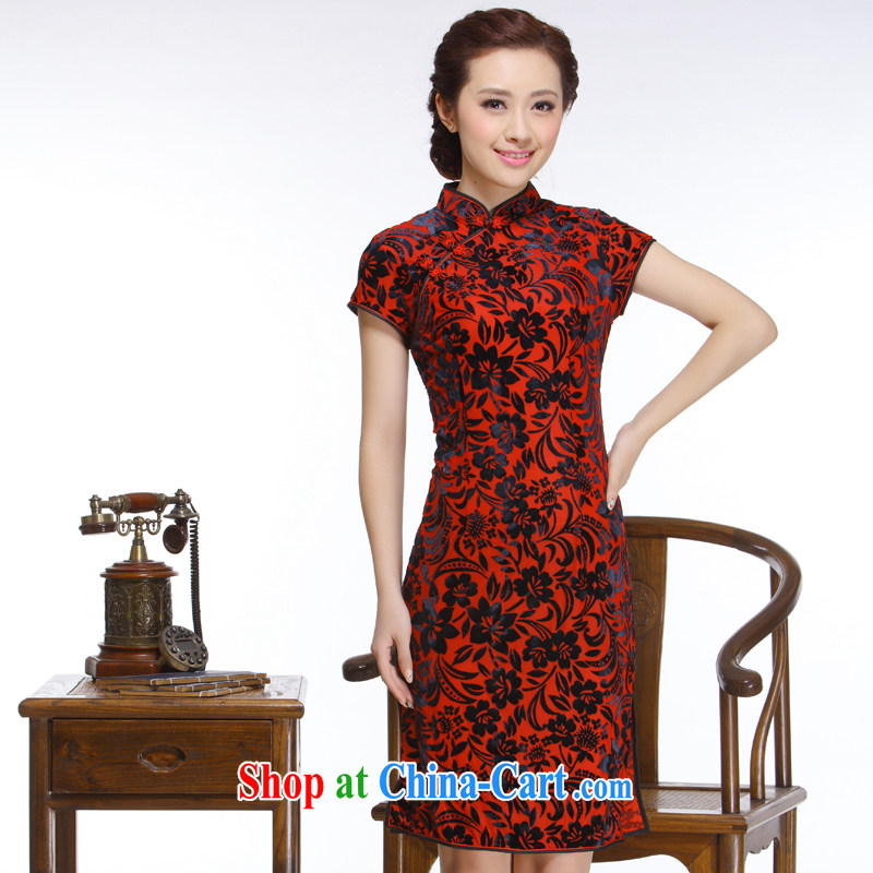 Slim li know 2015 new, Retro improved elegant high-quality really wool-'s short cheongsam QR 316 wine red XXL
