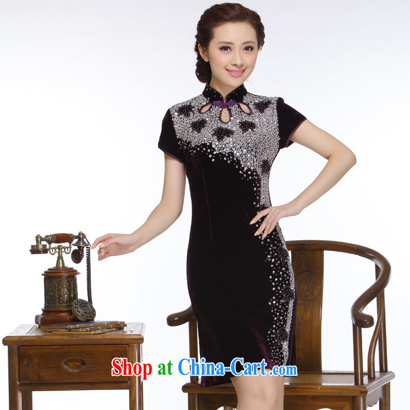 Slim li know 2015 new, chest of staple manually Pearl retro improved stylish and elegant short cheongsam QT 151 purple XXL