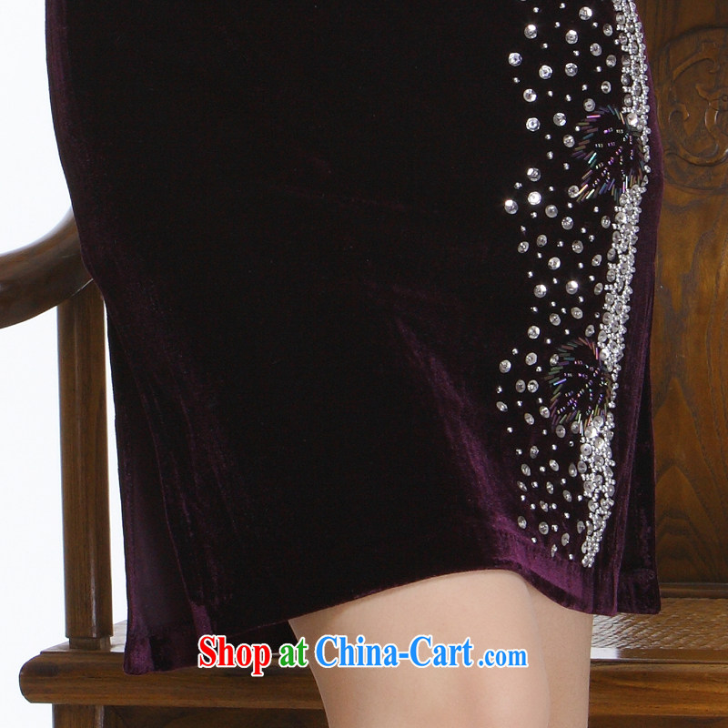 Slim li know 2015 new, chest of staple manually Pearl retro improved stylish and elegant short cheongsam QT 151 purple XXL, slim Li (Q . LIZHI), online shopping