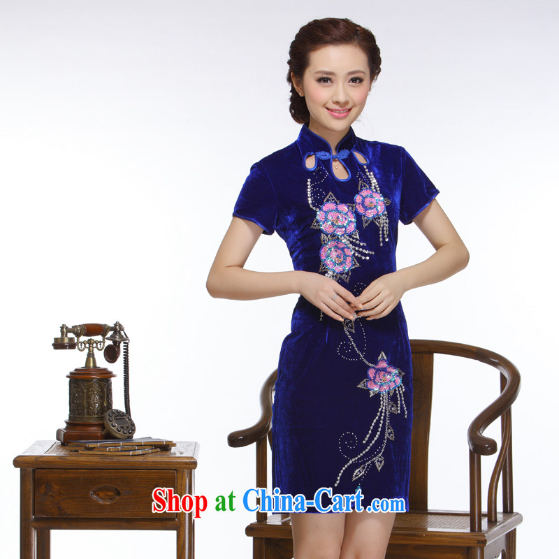 Slim li know 2015 new women retro improved stylish Sau San Po blue staple Pearl really velvet cheongsam QR 320 Po blue XXL