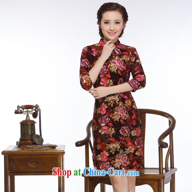 Slim li know 2015 new, improved retro style low-power's pipa ends really wool short cheongsam QC - 13,060 pipa collar XXL
