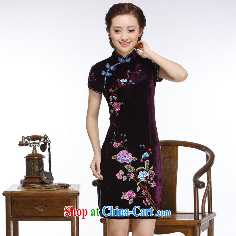 Slim li know 2015 new women embroidery hand-tie elegant purple atmosphere improved stylish short cheongsam QR 323 purple XXL