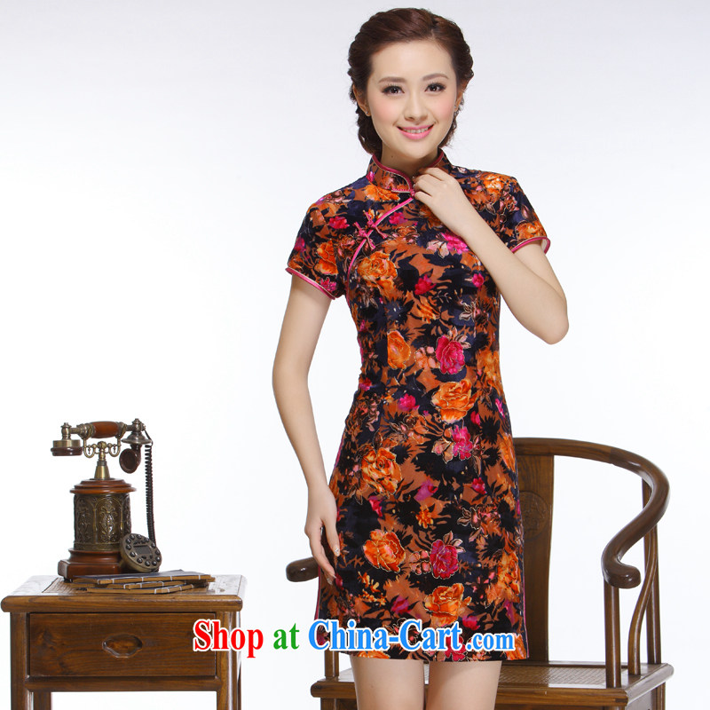 Slim li know that 2015 new improved stylish beauty streaking and noble temperament really wool-'s cheongsam QR 324 black and red XXL