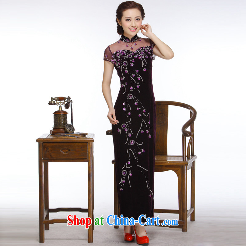 Slim li know 2014 new, improved stylish and elegant nails Pearl Openwork long, really plush robes QR 327 purple XXL