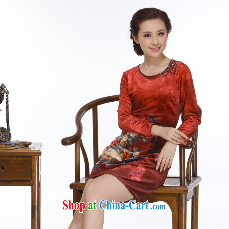 Slim li know 2014 new Ms. replacing retro improved elegant without the forklift truck Pearl nails short cheongsam dress QW 116 wine red XXL