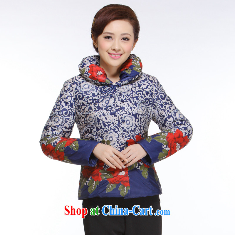 Slim li know 2013 autumn and winter new women Tang with improved stylish 2-color into the basket, turn the collar quilted coat jacket QB - 001 blue XXXL